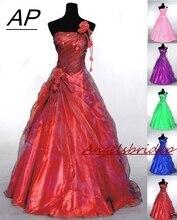 ANGELSBRIDEP Tek Omuzlu Quinceanera Elbiseler 15 Parti Seksi El Yapımı Çiçek Kat uzunluk Tül Tatlı 16 Vestido Debutante Kıyafeti