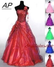 Angelsbridep 원 숄더 quinceanera 드레스 15 파티 섹시한 수제 꽃 바닥 길이 tulle sweet 16 vestido debutante gown