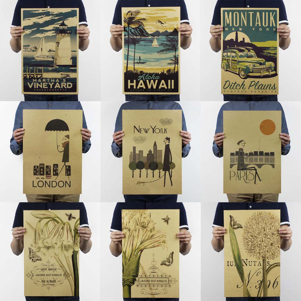 Posters And Prints/Vintage New York Poster Wall Stickers Coffee Adornment Kitchen Retro Living Room Decorative Painting