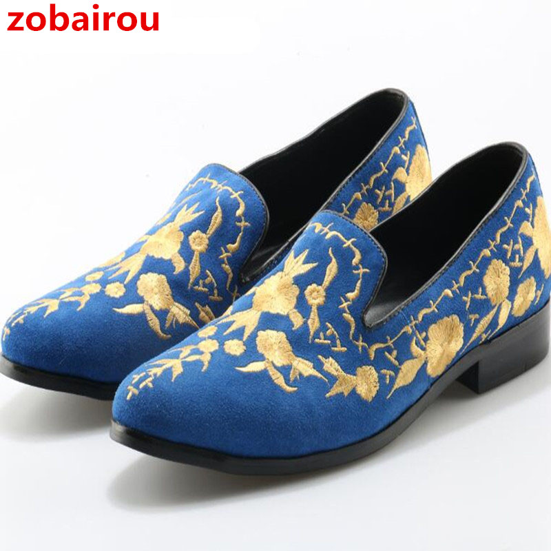 Zobairou 2018 Spring Men Casual Shoes Suede Leather Fashion Men Loafers Embroidered Moccasins Slip On Men's Flats Male Boat Shoe zplover fashion men shoes casual spring autumn men driving shoes loafers leather boat shoes men breathable casual flats loafers
