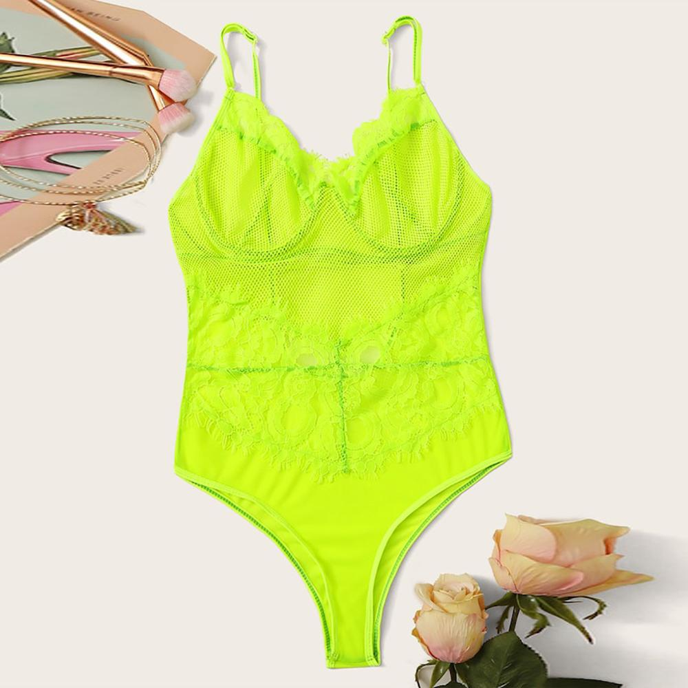 Srogem Neon Summer Green Lace Bodysuit Women Floral Embroidery Bow Tie Transparent Sexy Bodysuit Jumpsuit Overalls