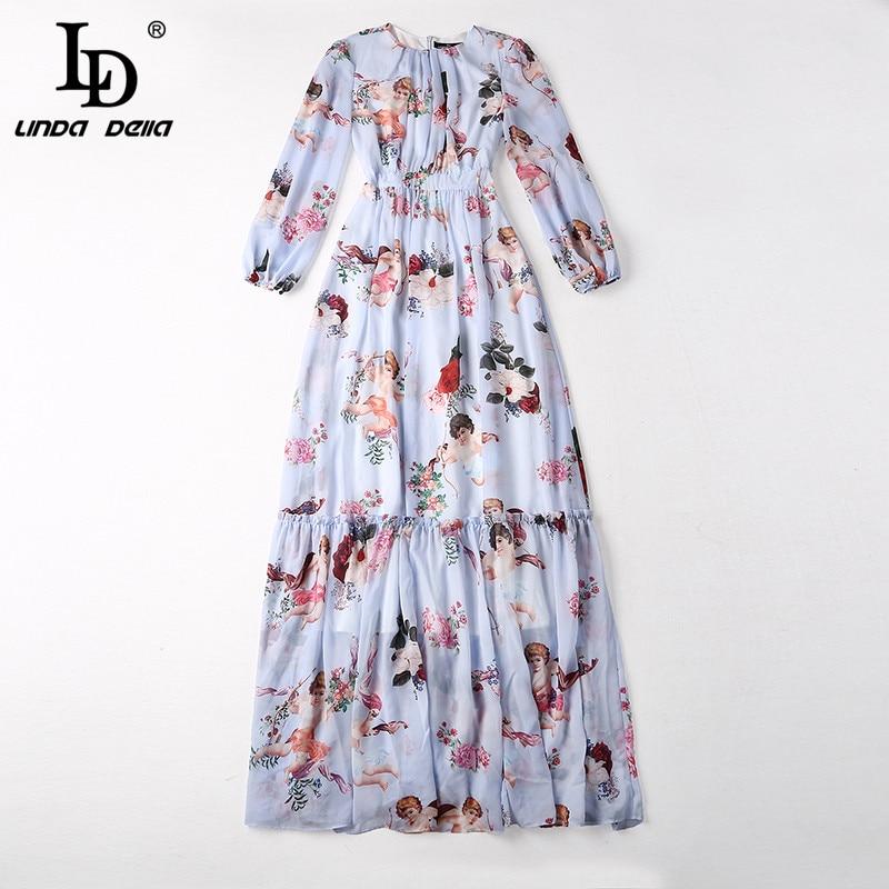 f49dac0533 LD LINDA DELLA 2019 Runway Maxi Dress Women's Long Sleeve Casual Bohemian Holiday  Chiffon Angel Pattern Floral Print Long Dress-in Dresses from Women's ...