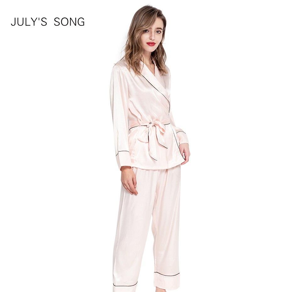 JULY'S SONG Women Faux Silk Satin   Pajamas     Set   2 Piece Spring Summer Long Sleeve Sleepwear   Pajamas   Suit Female Sleep Homewear