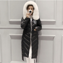 2016 Women's Maxi long Fashion Winter Down jacket With Faux Fur Hat Warm Winter Down Coat Fashion Black Womans Korean Overcoats