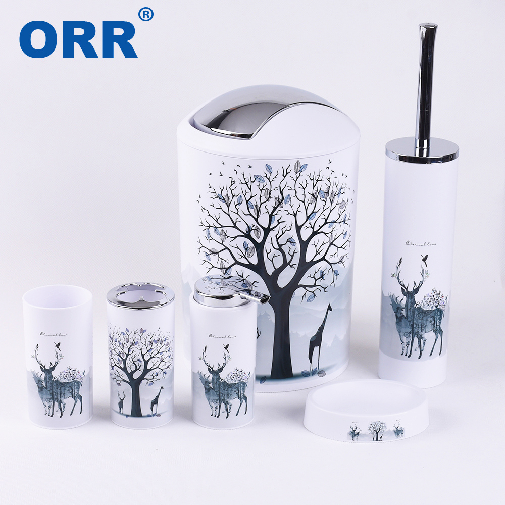 Bathroom set accessories Free shipping toilet brush soap dish washing tumbler toothbrush cup dustbin soap dispenser ORR