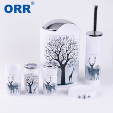 Bathroom set accessories Free shipping toilet brush soap dish washing tumbler toothbrush cup dustbin dispenser  ORR