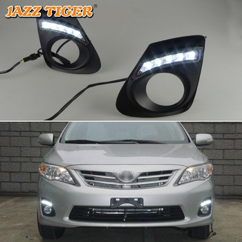JAZZ TIGER 2PCS Car DRL Lamp Auto Bulb Waterproof ABS 12V Daylight LED Daytime Running Light For Toyota Corolla 2011 2012 2013 фото