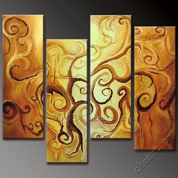 Handmade handmade oil painting on canvas gold tree of life modern ...