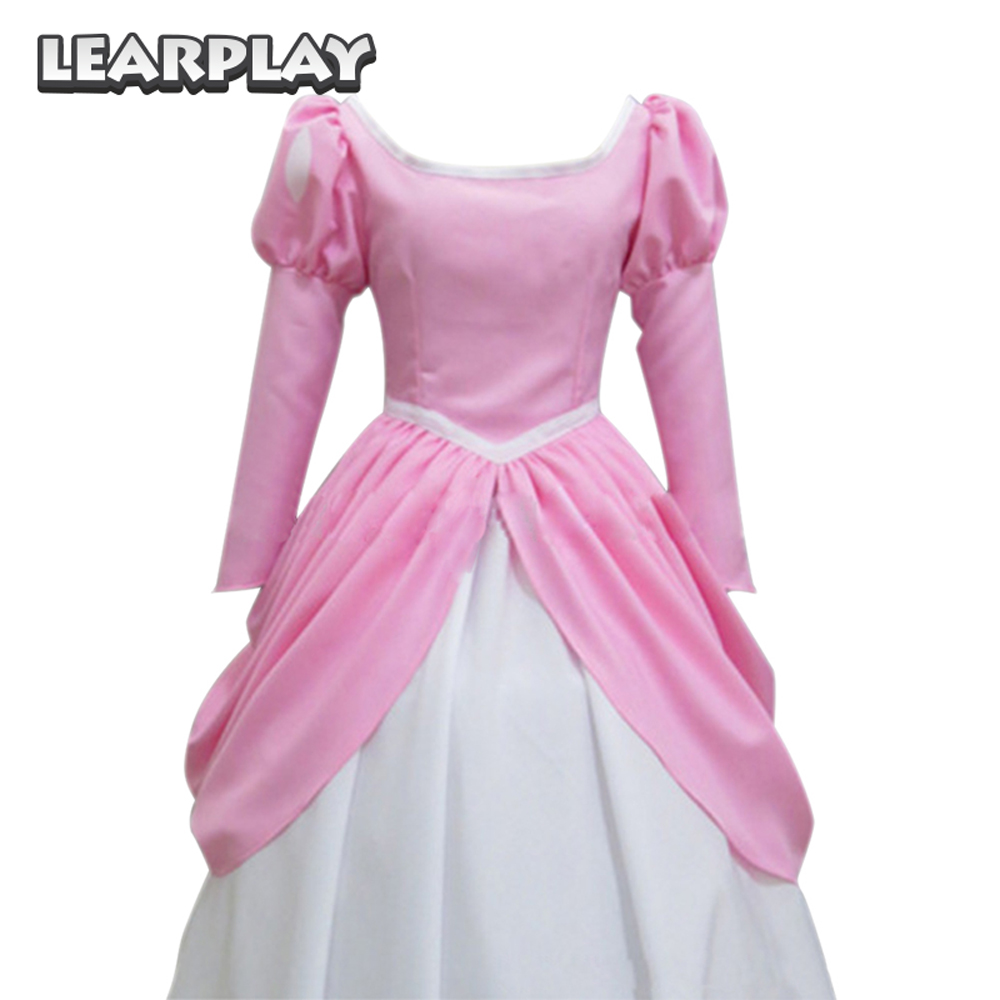 The Little Mermaid Cosplay Costumes Ariel Princess Dress Women Adults Pink Gown Halloween Fancy Party Dance