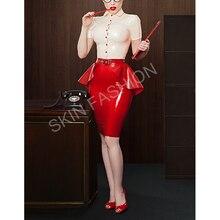 Новая горячая распродажа латексная Блузка+ юбка для офисных леди