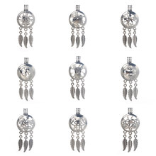6pcs/lot Silver 9 styles Dreamcatcher Pearl Cage Jewelry Making Bead Cage Pendant Essential Oil Diffuser Locket For Oyster Pearl(China)