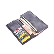 TERSE_2016 Hot sale long wallet mens handmade leather purse high quality long wallet for male 6 colors formal wallet cuatom logo