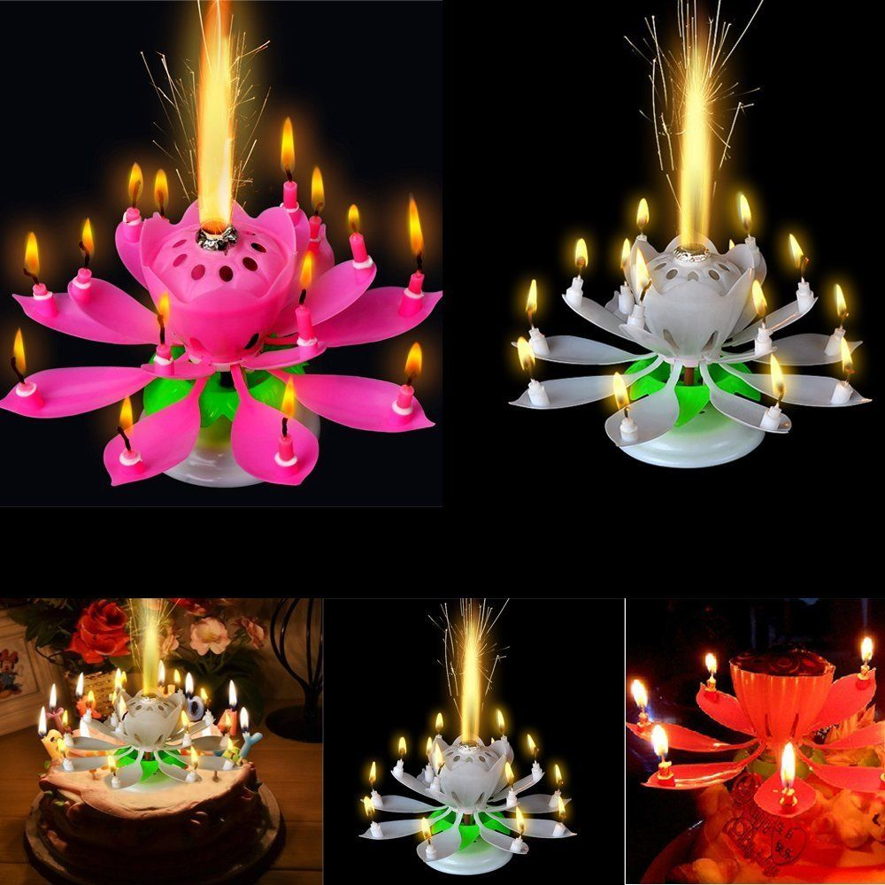 Beautiful Musical Lotus Flower Candle Popular Rotating Happy Birthday Party Light Magical