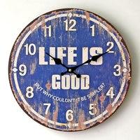 Vintage Wooden Wall Clock Home Decorative Retro Blue Large Wood Wall Clock Hotel Restaurant Ornaments