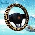 Leopard padrão capas para volante de pelúcia macia e quente/inverno tampa da roda de direcção do carro universal 3 cores