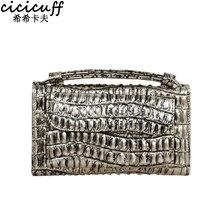 CICICUFF Women Messenger Bags Crocodile Pattern Patent Genuine Leather Handbag Long Wallet Envelope Clutch Bag for Woman 2018
