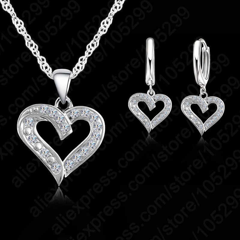 Elegant Sweet Heart 925 Sterling Silver Color Cubic Zirconia Pendants Necklace+Earring Jewelry Set For Women Wedding Jewelry