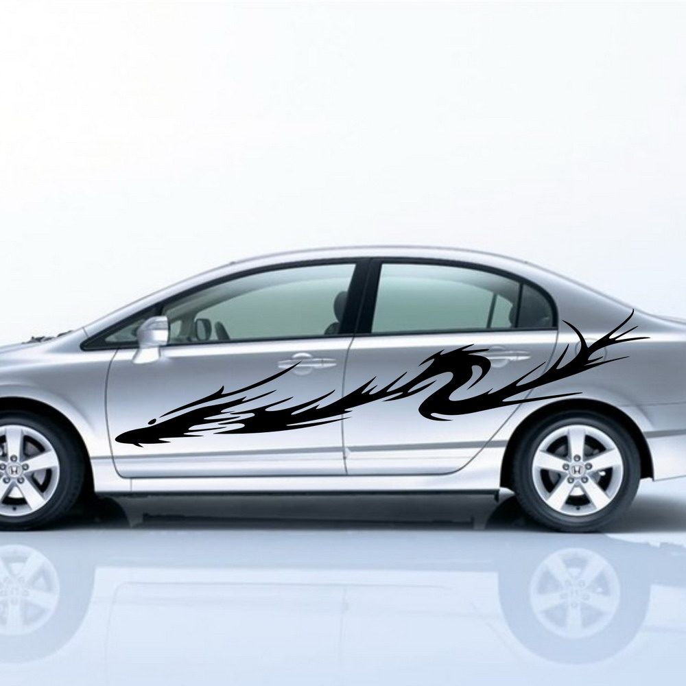Car dragon flames tribal racing 101 door decal for civic vinyl stickers black zc165