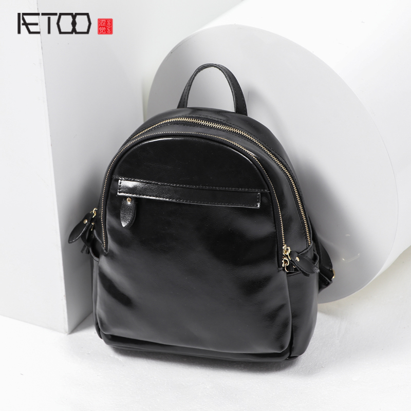AETOO Original new leather backpack female shoulder bag Japan and South Korea simple fashion leisure college wind cow leather bo