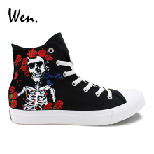 Wen Design Custom Hand Painted Shoes Grateful Dead Skull Men Casual Canvas Sneaker Black High Top Women Vulcanized Plimsolls wen hand painted shoes men women canvas sneakers pet cat custom design your own graffiti shoes high top sports skate flat