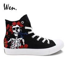 Wen Design Custom Hand Painted font b Shoes b font Grateful Dead Skull Men Casual Canvas