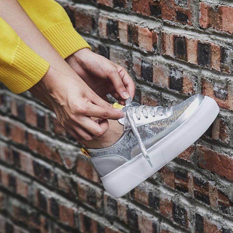 Donna in 2019 nuevo otoño mujer pisos Creepers zapatos de plataforma de cuero genuino con cordones Bling cómodos planos de mujer-in Zapatos planos de mujer from zapatos    2