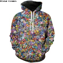 PLstar Cosmos Harajuku style Men hoodies 90s Cartoon Pokemon