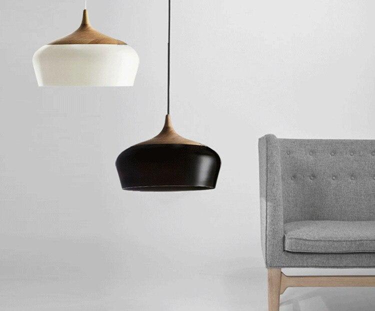 wood pendant lighting. Modern Wood And Aluminum Pendant Lights Black/ White Restaurant Bar Coffee Dining Room Hanging Light Fixture-in From \u0026 Lighting On