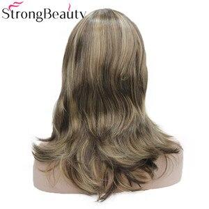 Image 4 - StrongBeauty ילדה סינטטי טבעי גל ארוך שיער אדום חום קוספליי פאות לנשים 5 צבעים