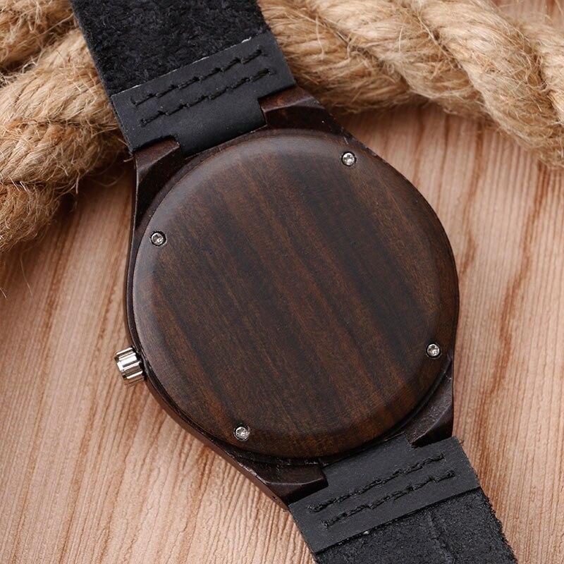 Luxus természet fából készült óra minimalista bambusz fekete - Férfi órák - Fénykép 6