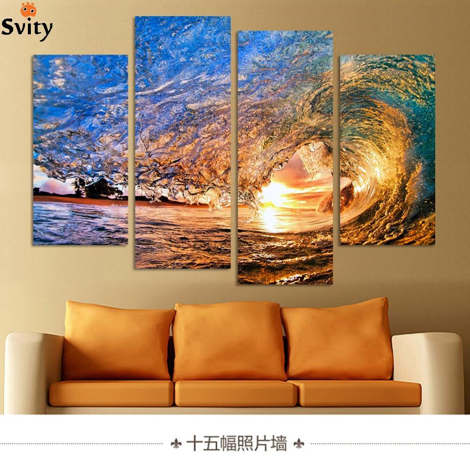 ŽÁDNÝ RÁMEČEK POUZE 4 kusy Západ slunce na pláži s malbou nástěnné malby na ocelové vlně vytištěné na plátně domácí výzdoby Doprava zdarma
