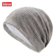 Unikevow Women Mens Beanies Skullies Double Layer Fashion Cotton Knitted Jacquard Cap Autumn Spring Hats Outdoor Ski Caps