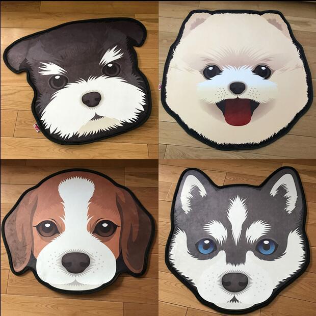 New 3D Thick Cartoon dog head shape Anti-Slip Carpets Pet Dog Print Mats Bathroom Floor Kitchen Rugs 60X60 80X80 cm