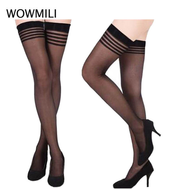 13ee4d76fb5 WOWMILI Thigh High Stocking Women Summer Over knee Socks Sexy girl Female  Hosiery Nylon Lace Style Stay Up Stockings Plus Size