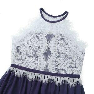 Image 4 - Çocuk Kız Halter Boyun Çiçek Dantel Düğme Kapatma Çiçek Kız Elbise Prenses Pageant Düğün Nedime Parti balo elbisesi Elbise