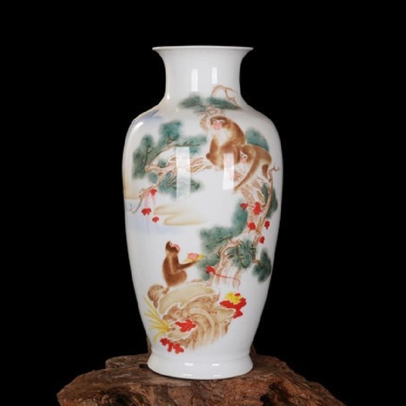 Monkey  Chinese Style Vase Jingdezhen Classical Porcelain Kaolin Flower Vase Home Decor Handmade Shining Famille Rose Vases vase