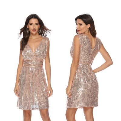 Robes de Cocktail à paillettes argent or courtes longueur genoux sans manches col en v robe de soirée droite femmes Sexy robe pas cher 2019