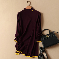 casual women long sweaters and pullovers 2018 autumn winter new knitted solid bee embroidery knitted bottoming dresses