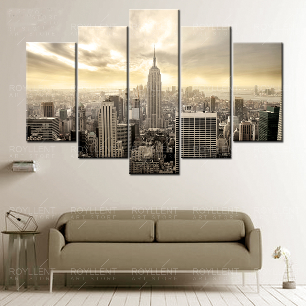 Aliexpress Com Buy 3 Pieces Wall Art New York City: New York City Building Picture Modern Wall Art Canvas