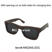 fashion lady's small dark brown bamboo sunglasses with opening cut and grey polarized lens