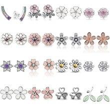 CUTEECO Hot Sale Daisy Flower Rainbow Heart Zircon Stud Earrings For Women Original Brand Earring Jewelry Brinco
