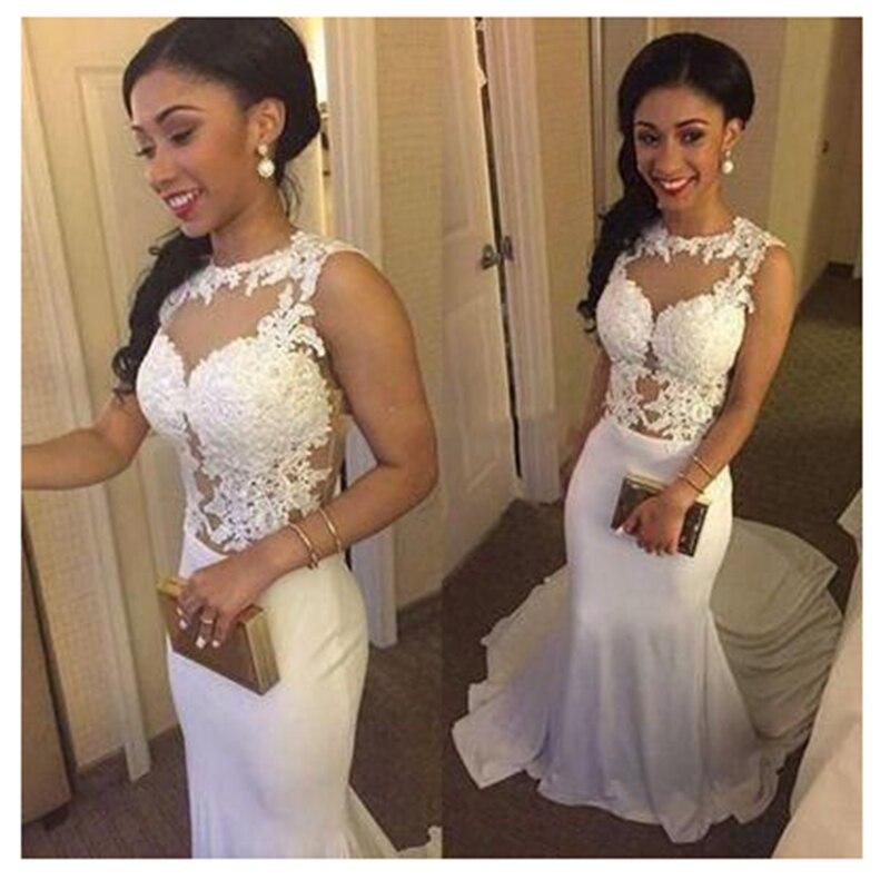 Smileven robe de mariée sirène Sexy sans manches dentelle Top plage mariée robes Long Train élégant mariage robes de mariée 2019