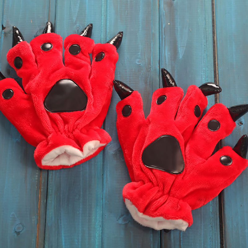 Animal Gloves Cartoon Dinosaur Bear Claw Winter Funny Cute Warm Soft Paw Kigurumi Onesie Festival Party Women Men Adult Finger