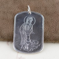 Silver wholesale S999 thousand fine silver antique style Guanyin bodhisattva heart sutra tags Male homescreen widget