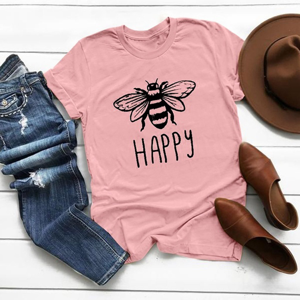 Yellow T-Shirt Harajuku shirt Women Causal Cotton Round Neck Bee Print T-shirt Vintage Graphic Plus Size Woman Unisex Clothes#2