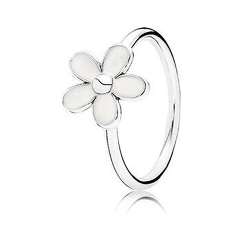 2019 Spring New Fashion 925 Sterling Silver Delicate White Daisy Pans Ring For Women Wedding Party DIY Jewelry Birthday Gift in Wedding Bands from Jewelry Accessories