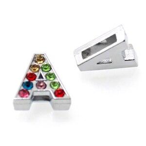 Image 4 - 1300 unids/lote 8mm letras deslizantes de diamantes de imitación coloridas ajuste 8mm DIY pulsera joyería LSSL015