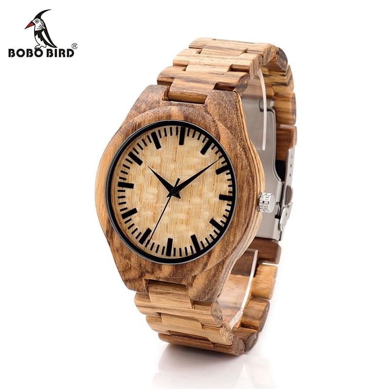 BOBO BIRD V G23 Zebra Bamboo Wooden Watches Mens Luxury Brand Japan Movement Quartz Clock All