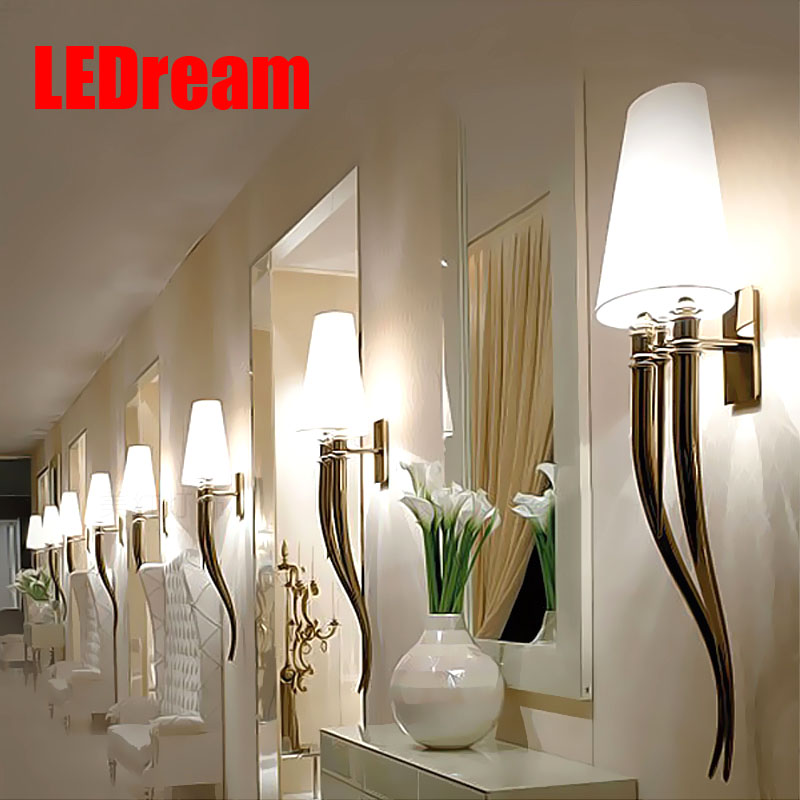 Creative led wall lamp contracted hotels horn wall lamp Dining-room sitting room bedroom the head of a bed american creative fashion led the study bedroom mirror before the long arm of the head of a bed wall lamp wrought iron long arm