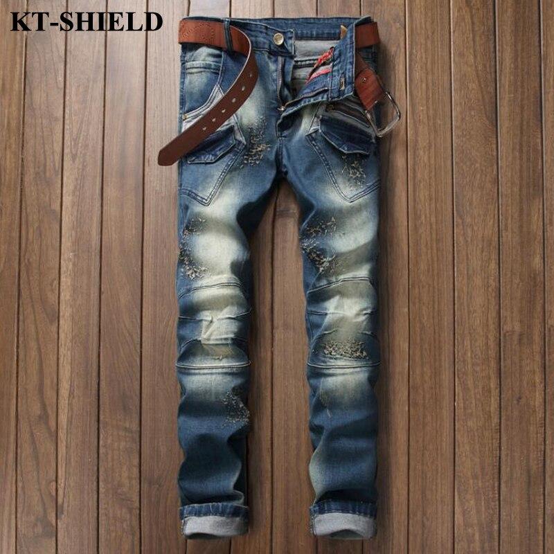 Luxury Mens Brand Jeans 100 Cotton Fashion Ripped Denim Pants For Man Vaqueros Hombre Slim fit